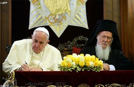 Папа до Патріарха: «Через молитву і очищення сердець прямуймо до євхаристійного сопричастя»