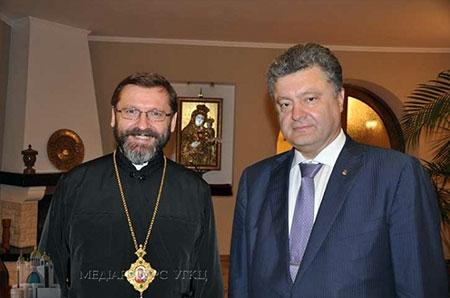 Глава УГКЦ обговорив з Петром Порошенком підсумки візиту Держсекретаря Ватикану